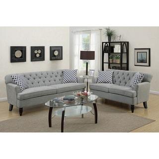 Bobkona Veleteen Fabric 2 Pcs Sofa Set W/ 4 Accent Pillows.