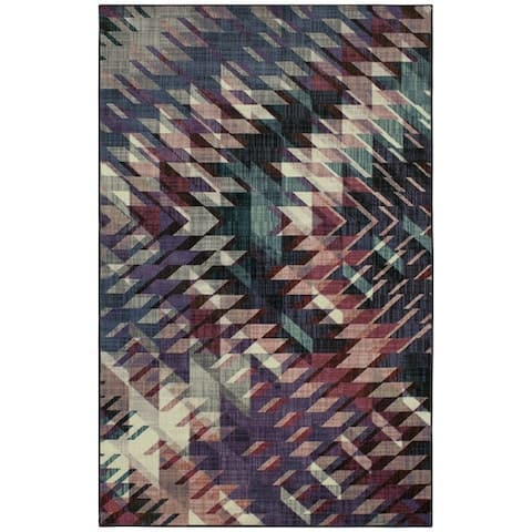 Silver Orchid Bard Geometric Area Rug