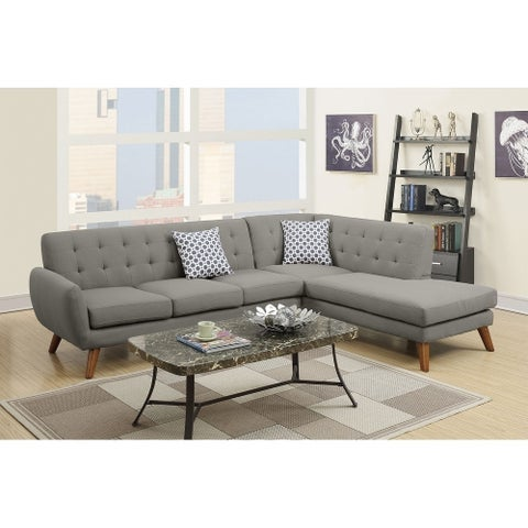 Bobkona Linen-like Fabric 2-Pcs Sectional sofa. Right-facing Chaise and Left facing Sofa.