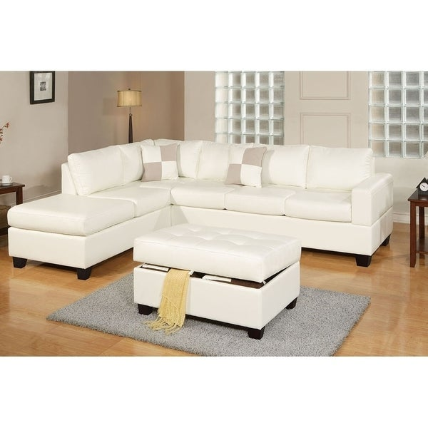 Bobkona 3 Pcs Reversible Bonded Leather Sectional Sofa And Cocktail Ottoman W Storage