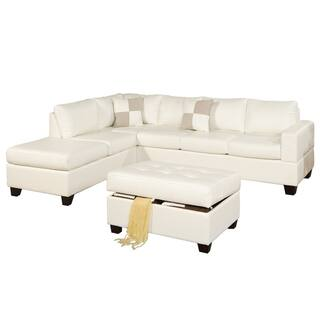 Bobkona 3 Pcs Riversible Bonded Leather Sectional Sofa And Tail Ottman W Storage