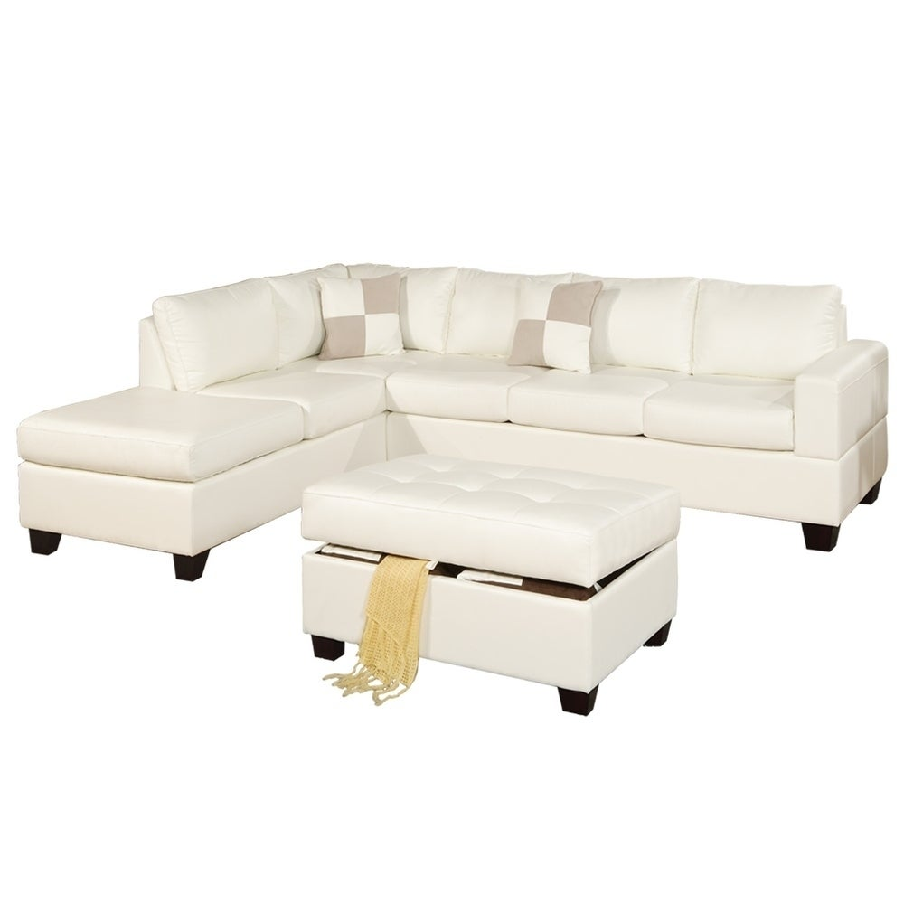 Bobkona 3 Pcs Riversible Bonded Leather Sectional Sofa And Cocktail Ottman  W/ Storage