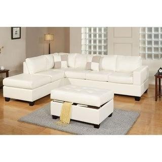 Bobkona 3-Pcs Riversible Bonded Leather Sectional Sofa and Cocktail Ottman w/ Storage