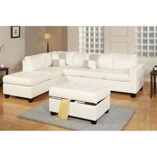 Bobkona 3 Pcs Riversible Bonded Leather Sectional Sofa And Tail Ottman W Storage