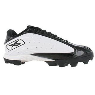 Reebok Men s Outside Speed Low M Black White Molded Football Cleats 4f6424382