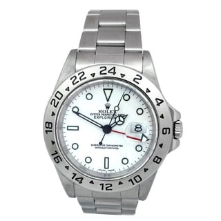 Pre-owned 40mm Rolex Stainless Steel Oyster Perpetual Explorer II Watch with White Dial. Sty;e 16570