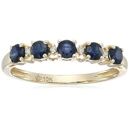 10k Yellow Gold Blue Sapphire Diamond Stackable Ring, Size 7