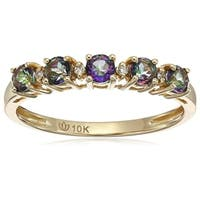 10k Yellow Gold Mystic Topaz Diamond Stackable Ring, Size 7 - Green