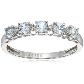 10k White Gold Aquamarine Diamond Stackable Ring, Size 7 - Blue