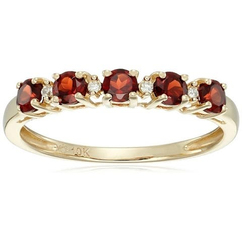 10kt Yellow Gold Red Garnet Diamond Stackable Ring