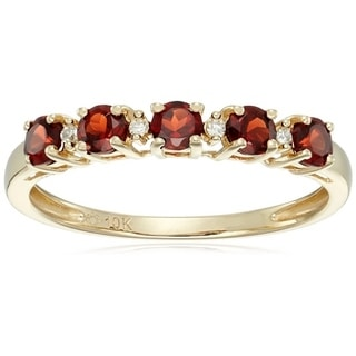 10k Yellow Gold Red Garnet Diamond Stackable Ring, Size 7