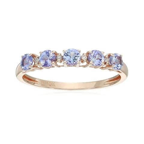 10k Rose Gold Tanzanite Diamond Stackable Ring - Blue