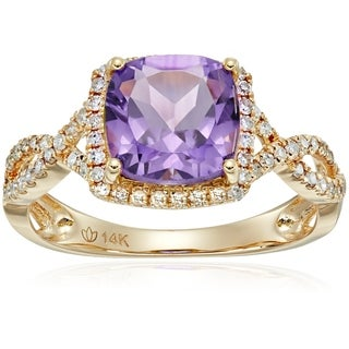 14k Yellow Gold African Amethyst Diamond Engagement Ring, Size 7