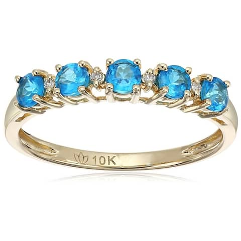 Pinctore 10k Yellow Gold Neon Apatite Diamond Stackable Ring, Size 7 - Blue