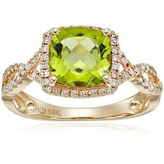 14k Yellow Gold Peridot, Diamond Cushion Engagement Ring, Size 7