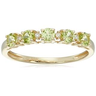 10k Yellow Gold Peridot Diamond Stackable Ring, Size 7 - Green