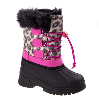 Rugged Bear girls leopard snow boots