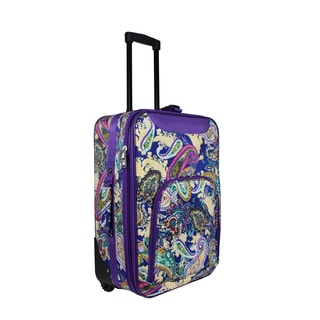 World Traveler Purple Paisley 20-inch Lightweight Carry-on Rolling Upright Suitcase