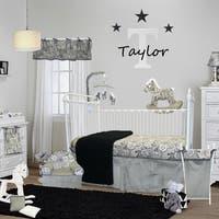 Cotton Tale Designs Taylor Grey and Black Paisley Cotton 3-piece Crib Bedding Set