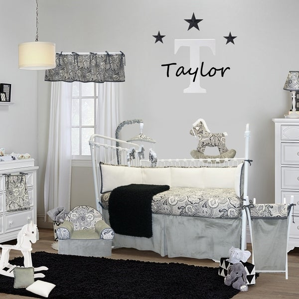 Cotton Tale Designs Taylor Grey and Black Paisley Cotton 4-piece Crib Bedding Set