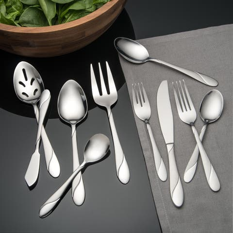 Cambridge Silversmiths Swirl Sand 89-Piece Flatware