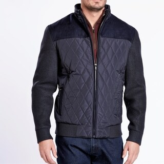 Medium Weight Navy Suede & Quilted Jacket