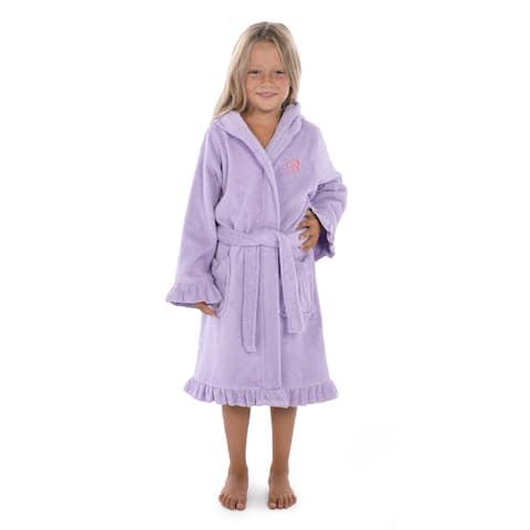 Sweet Kids Ruffled Purple Turkish Cotton Hooded Terry Bathrobe Pink Script Initial