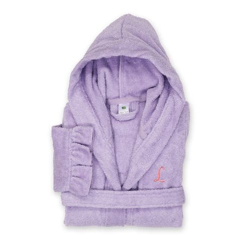 Sweet Kids Ruffled Purple Turkish Cotton Hooded Terry Bathrobe Pink Script Initial