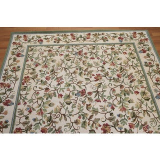 Rustic Country Cottage Hand Hooked Pure Wool Area Rug (6'x9')