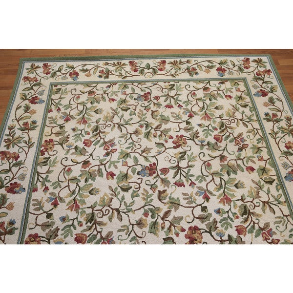 Rustic Country Cottage Hand Hooked Pure Wool Area Rug
