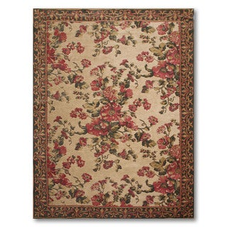 """Cotton and Chenille Country Cottage Italian Aubusson Area Rug (5'5""""x8')"""