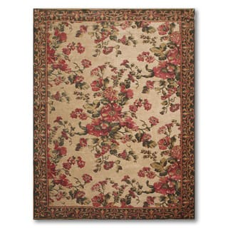 "Cotton and Chenille Country Cottage Italian Aubusson Area Rug (5'5""x8')