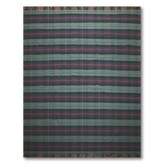 "Ralph Lauren Glam Plaid Pure Wool Kilim Dhurrie Branded Area Rug (9'6""x12')"