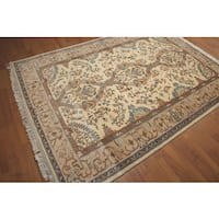 "Thick Pile Aubusson Traditional Ornamental Hand Knotted Area Rug (6'3""x8'10"")"