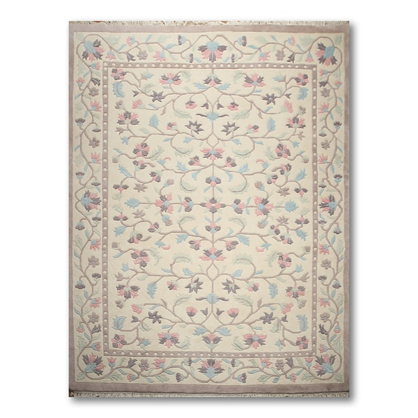Botanical Glam Thick Pile Aubusson Hand Knotted Oriental Area Rug - multi