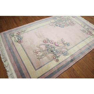 """Country Cottage Thick Pile Aubusson Pure Wool Hand Knotted Area Rug (5'5""""x8'8"""")"""
