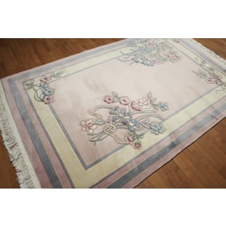 "Country Cottage Thick Pile Aubusson Pure Wool Hand Knotted Area Rug (5'5""x8'8"")
