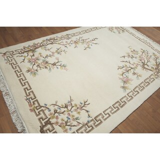 Asian Inspired Thick Pile Aubusson Pure Wool Area Rug (6'x9')