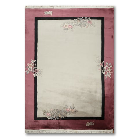 Transitional Glam Hand Knotted Art Deco Oriental Area Rug - 6'x9'