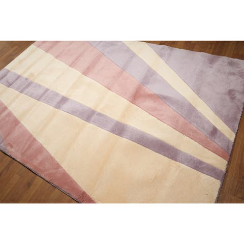 Modern Abstract Pure Wool Hand Tufted Oriental Area Rug - Ivory/Lavander - 6' x 9' - 6' x 9'