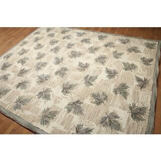 Rustic Botanical Pure Wool Oriental Area Rug (8'x10')