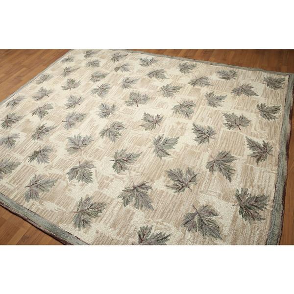 Rustic Botanical Pure Wool Oriental Area Rug - 8'x10'