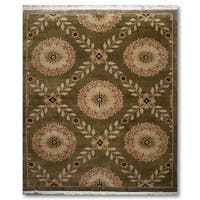 Botanical Medallion Hand Knotted Tibetan Area Rug - 8'x10'