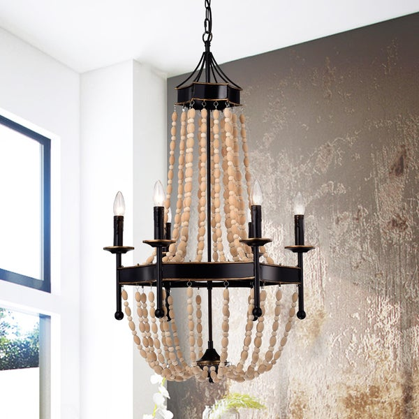 Drustan 6-Light 22-Inch Classic Vase Wood Pendant