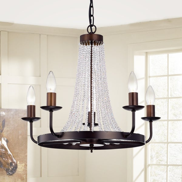 Cynbel 5-Light Single Tier 20-Inch Antique Bronze Crystal Chandelier
