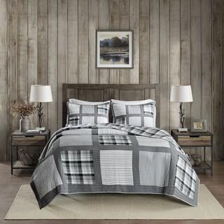 Woolrich Huntington Gray Reversible Oversized Cotton Percale Quilt Mini Set