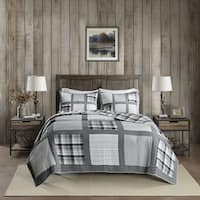 Woolrich Huntington Gray Reversible Oversized Cotton Percale Quilt Mini Set
