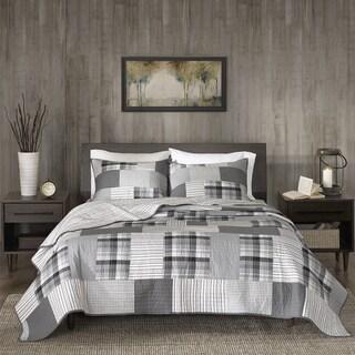 Woolrich Riverview Gray Reversible Oversized Cotton Percale Quilt Mini Set