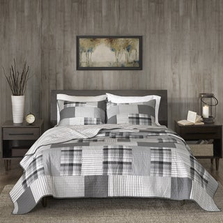 Woolrich Riverview Gray Reversible Oversized Cotton Percale Quilt Mini Set