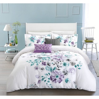 Chic Home Aylett Lavender Floral Cotton Reversible 5 Piece Comforter Set
